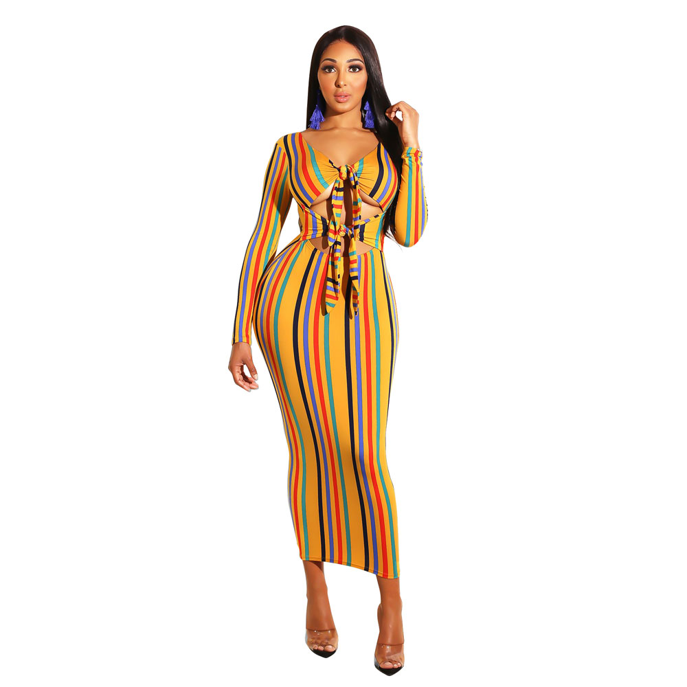 Fashion Hole Bandage Dress Sexy Striped printed Long Sleeve Bodycon For Wonen Autumn And Wnter