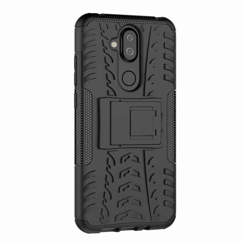 Untuk Nokia 1 2 3 5 6 8 3.1 6.1 7.1 5.1 8.1 2.1 3.2 4.2 Plus X5 X6 X7 hard Case Lembut Hibrida Armor Silikon 2in1 Stand Phone Cover