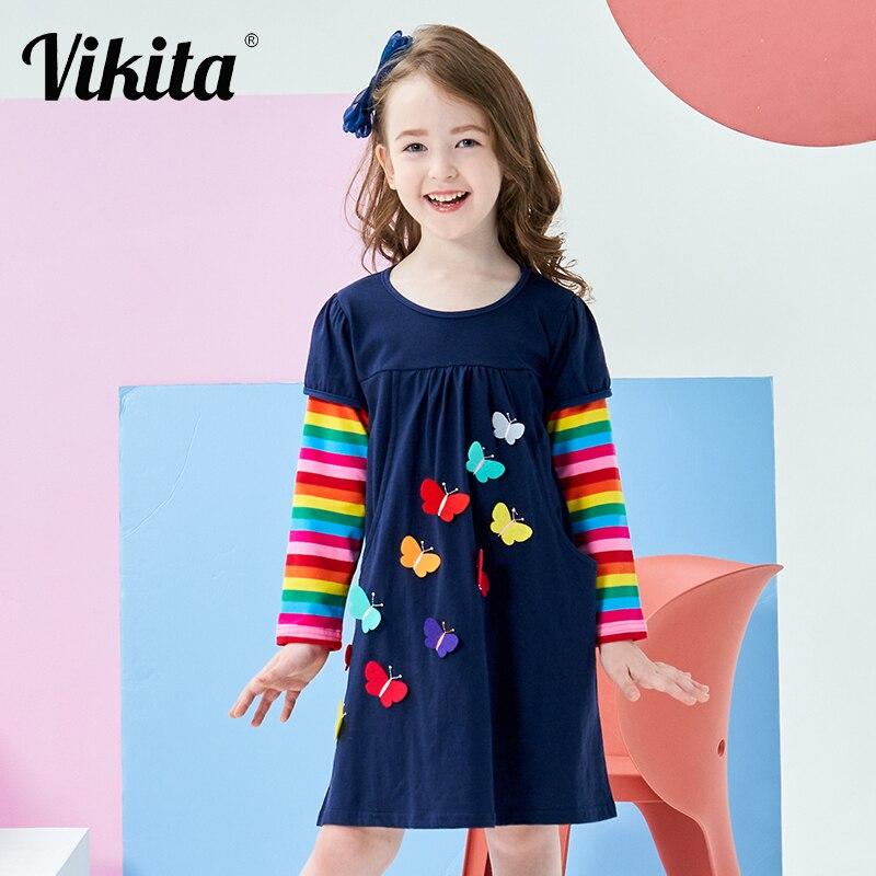 VIKITA Kids Girls Dress Baby Children Toddler Princess Dress Vestidos Children's Clothing Girls Autumn Winter Dresses 2-8 Years