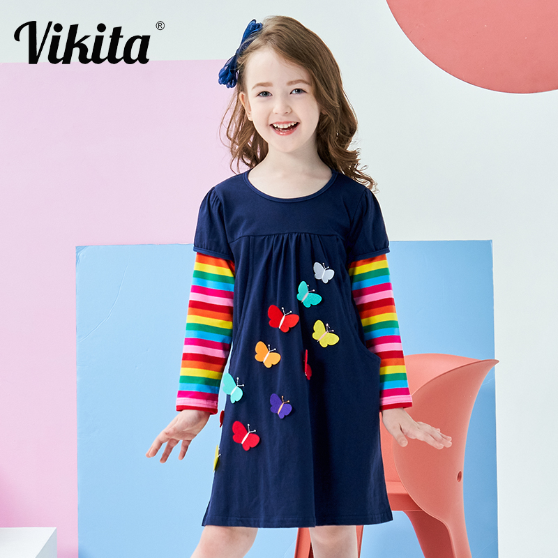 VIKITA Kids Girls Dress Baby Children Toddler Princess Dress Vestidos Children s Clothing Girls Winter Dresses VIKITA Kids Girls Dress Baby Children Toddler Princess Dress Vestidos Children's Clothing Girls Winter Dresses 2-8Y LH5805 MIX