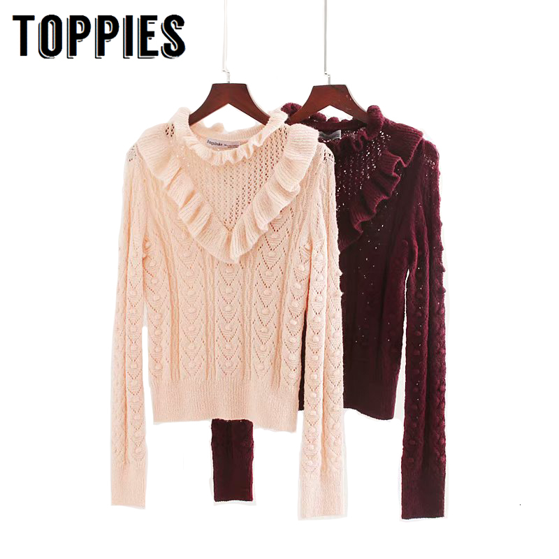 Pink Burgundy Sweater Hollow Out Knitting Ruffles Sweater Korean Women Tops Fall 2019 Girls Jersey Pull