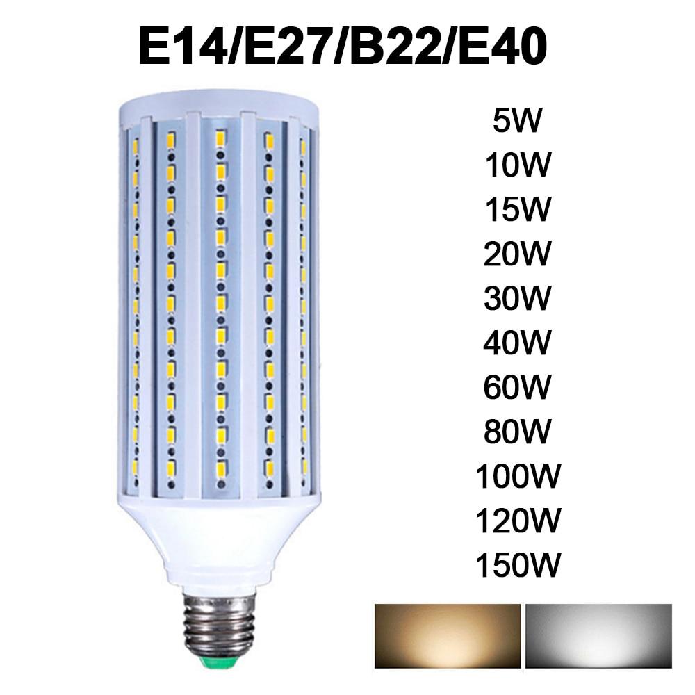 AC85-265V E27 B22 E40 E14 LED Bulb 5730 2835SMD 5W-150W LED Lamp Corn Bulb Energy Saving Lamp For Home Decoration Light