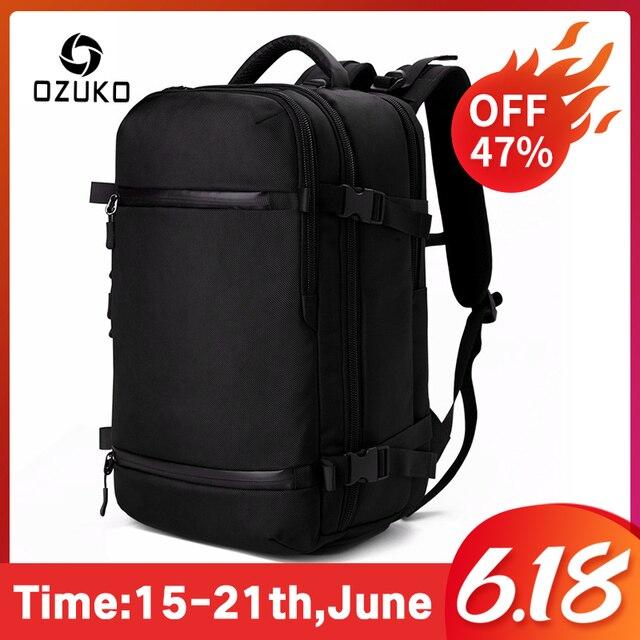 OZUKO New Men Backpack for 15 17 Laptop Backpacks Water Repellent Multifunction Bag USB Charging Travel Backpack Large Mochila