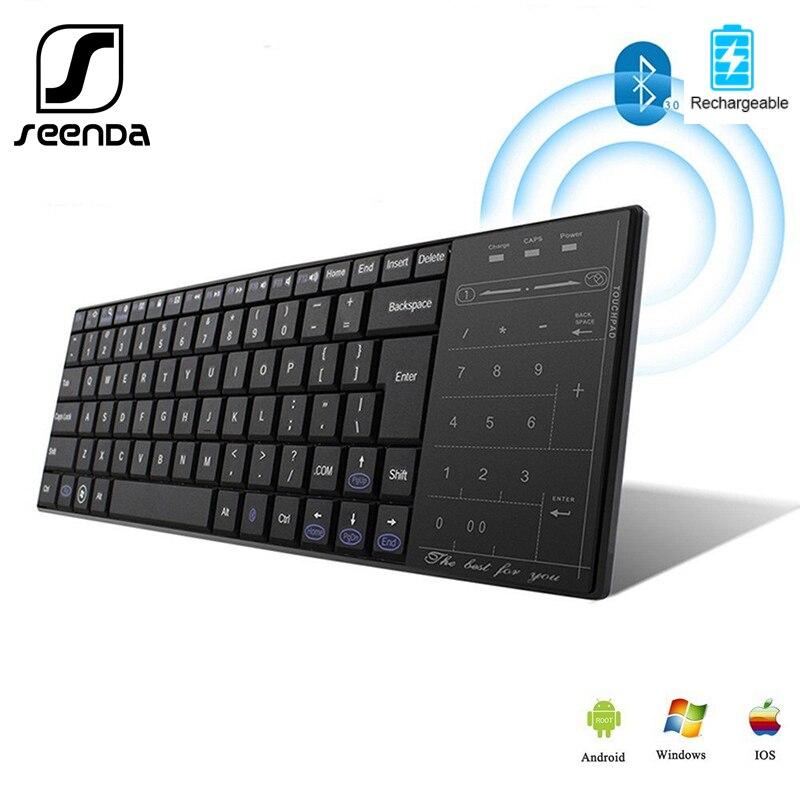 Беспроводная русская клавиатура SeenDa, сенсорная клавиатура с тачпадом, для планшетов, ноутбуков, телевизоров, цифровая