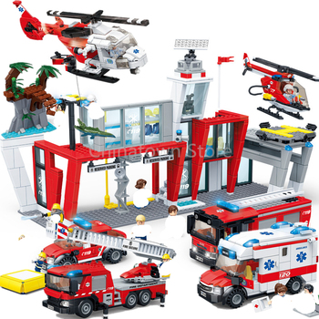 NEW City Police Fire Station Trucks Spray Medical ambulance aircraft Firemen Car Building Blocks Sets Bricks Toys Kits Figures new city police fire station truck spray water gun firemen car building blocks sets bricks model kids toys compatible legoes