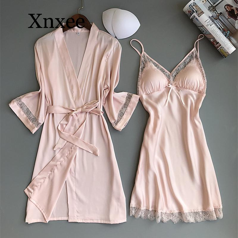 Sling Pajamas Two-piece Suit Simulation Silk Sexy Pajamas Women Long Sleeves Spring Autumn Summer Pajamas With Chest Pads