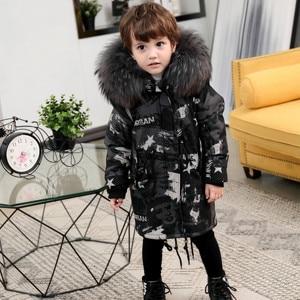 Image 5 - Parkas de piel Natural para niños, chaqueta con diseño de grafiti, chaquetas de piel para niños, ropa cálida para niñas, forro de piel de conejo desmontable