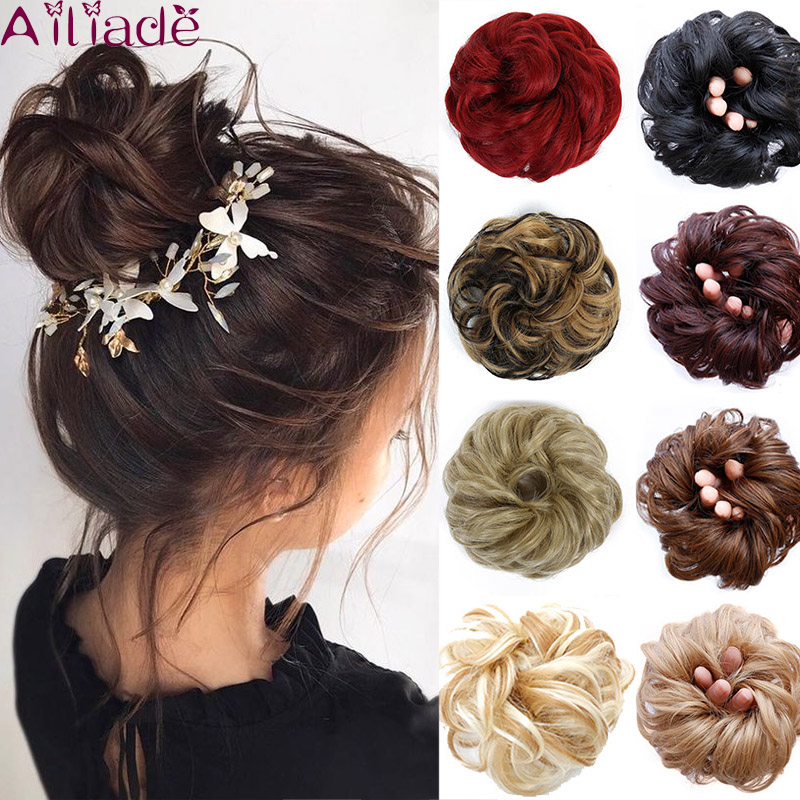 AILIADA Hairpiece Chignon Hairpin Scrunchie Fake Curly Bun Elastic Band Updo Braidal Hair Piece Synthetic For Women False Hair