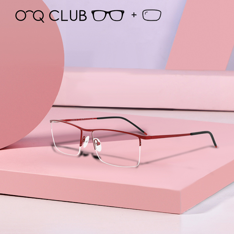 Optical-Glasses-Frame Prescription Eyeglasses Myopia Male Metal Alloy Square Ultralight