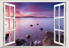 Romantic View Beach Rock 3D Window Scenery Wall Sticker Decals PVC Art Home Decor Living room Bedroom Wallpaper Poster Mural custom natural scenery wallpaper planet landscape view from a beach 3d photo mural for living room restaurant bedroom wall pvc