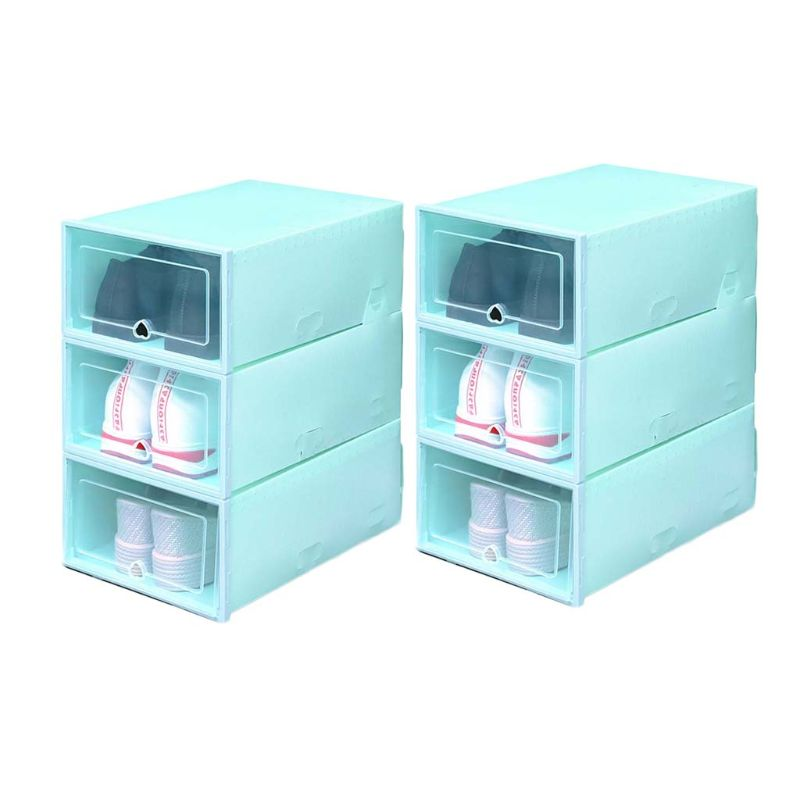 6Pcs Plastic Shoe Box Stackable Foldable Shoe Organizer Drawer Storage Case with Clear Door Flipping Lid Ladies Men 34x24x14cm|Shoe Racks & Organizers| |  - title=