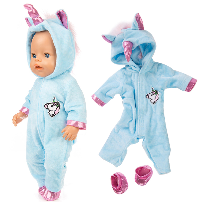 Suitable For 17 Inch 43 Cm Born Baby Doll Unicorn Rompers Doll Clothes Accessories For Children Toys Wearing