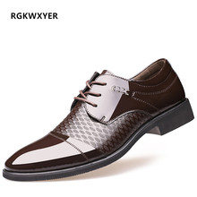 цена на RGKWXYER New Pointed Toe Mens Dress Shoes Business Leather Wedding Loafer Men Formal Shoes Lace-up Microfiber Flats Dress Shoes