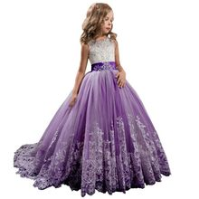 Lace Girl Evening Dress Princess Bridesmaid Pageant Tutu Tulle Gown Party Wedding Dress Summer Flower Girl Dresses Sukienka 2020(China)