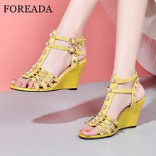 FOREADA Real Leather Gladiator Sandals Platform Wedges Heel Shoes T-Tied Buckle Strap High Heels Rivet Open Toe Lady Sandals 40 choudory open toe high heel platform wedges mixed colors gladiator sandals buckle zipper leather fashion dunk low shoes woman
