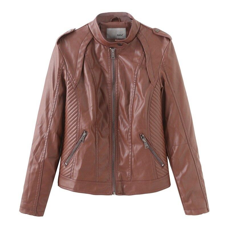 NXH oversize new grunge style   leather   jacket women motor biker pu coat autumn faux   leather   windbreak