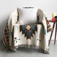 Sofá de doble cara, sala de estar toalla para, sofá de descanso, cojín, manta popular vintage, manta de cola de cama de viento nacional, tapiz T05