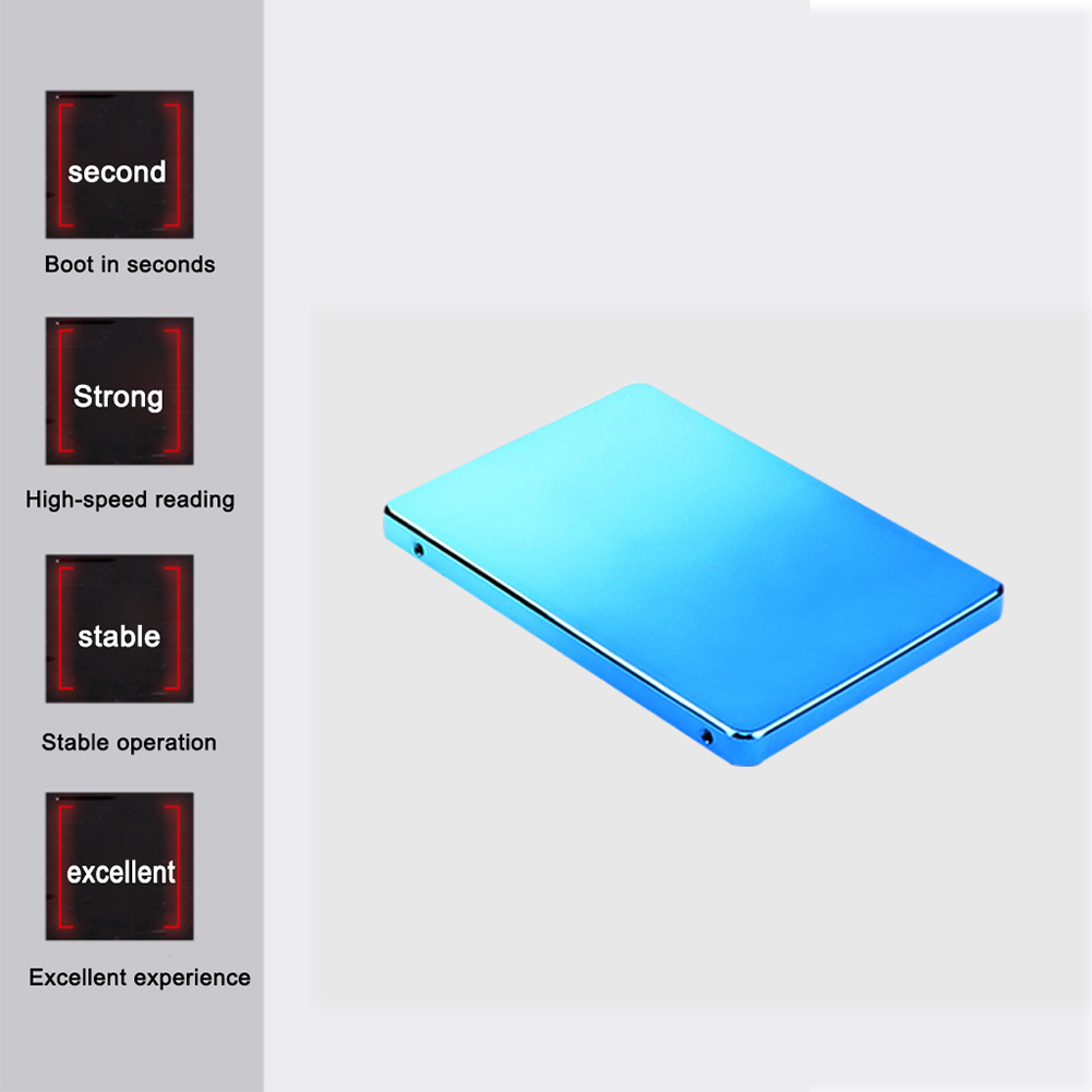 SATA III 2.5 inch Internal SSD Solid State Drive for Computer Gradient Multicolor Cyan HDD Case with USB Cable Pouch New