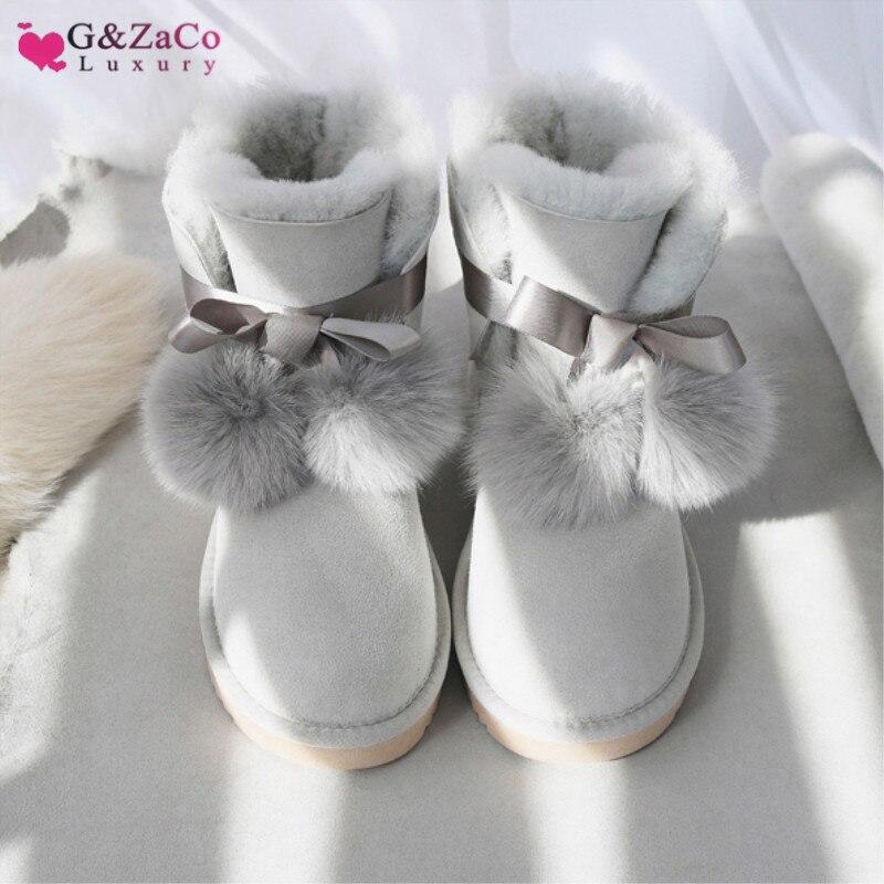 G & Zaco luxe Gneuine en peau de mouton cuir bottes de neige femmes laine australie bottes doux arc renard plat mouton fourrure botte chaussures d'hiver