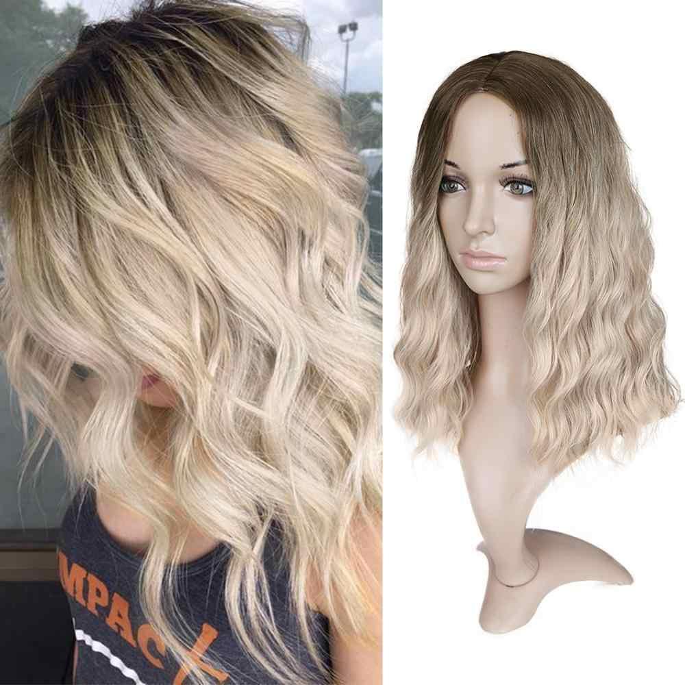 FAVE krótkie włosy falowane mieszane czarne niebieskie włókno termoodporne naturalna peruka syntetyczna dla czarnych/białych amerykańskich kobiet Cosplay