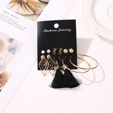 6 Pair/Set New Design Earrings Sets Geometric Letter Love Flower Big Circle Tassel Women Girls Earring For Party Wedding Jewelry(China)