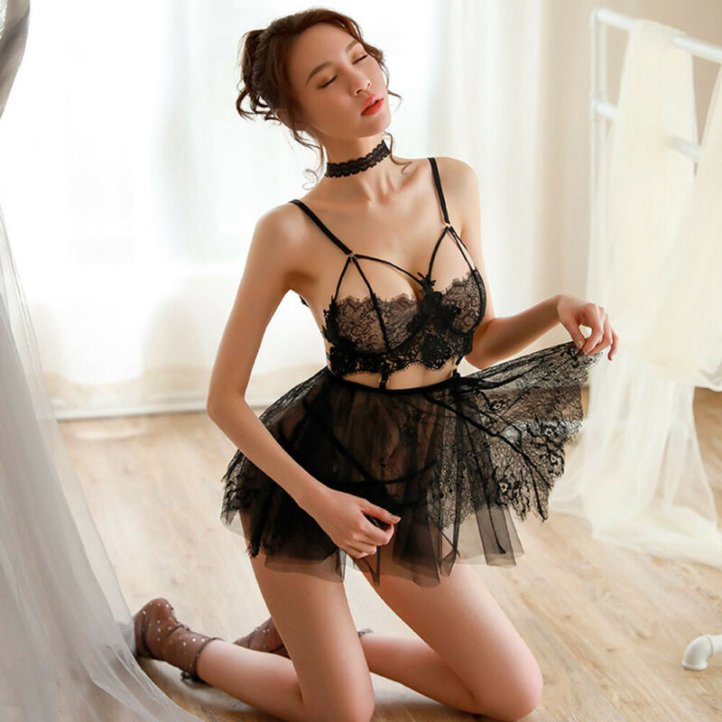 Brand New Sexy Women Lace Lingerie Sleepwear Nightwear Nightgowns Ice Silk See-through Babydoll G String Dress Sleepshirts