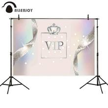 Allenjoy Birthday Background Cloth Glitter Silver Ribbon Dot Crown Colorful Bokeh Wall Decor Vip Anniversary Party Supplies(China)