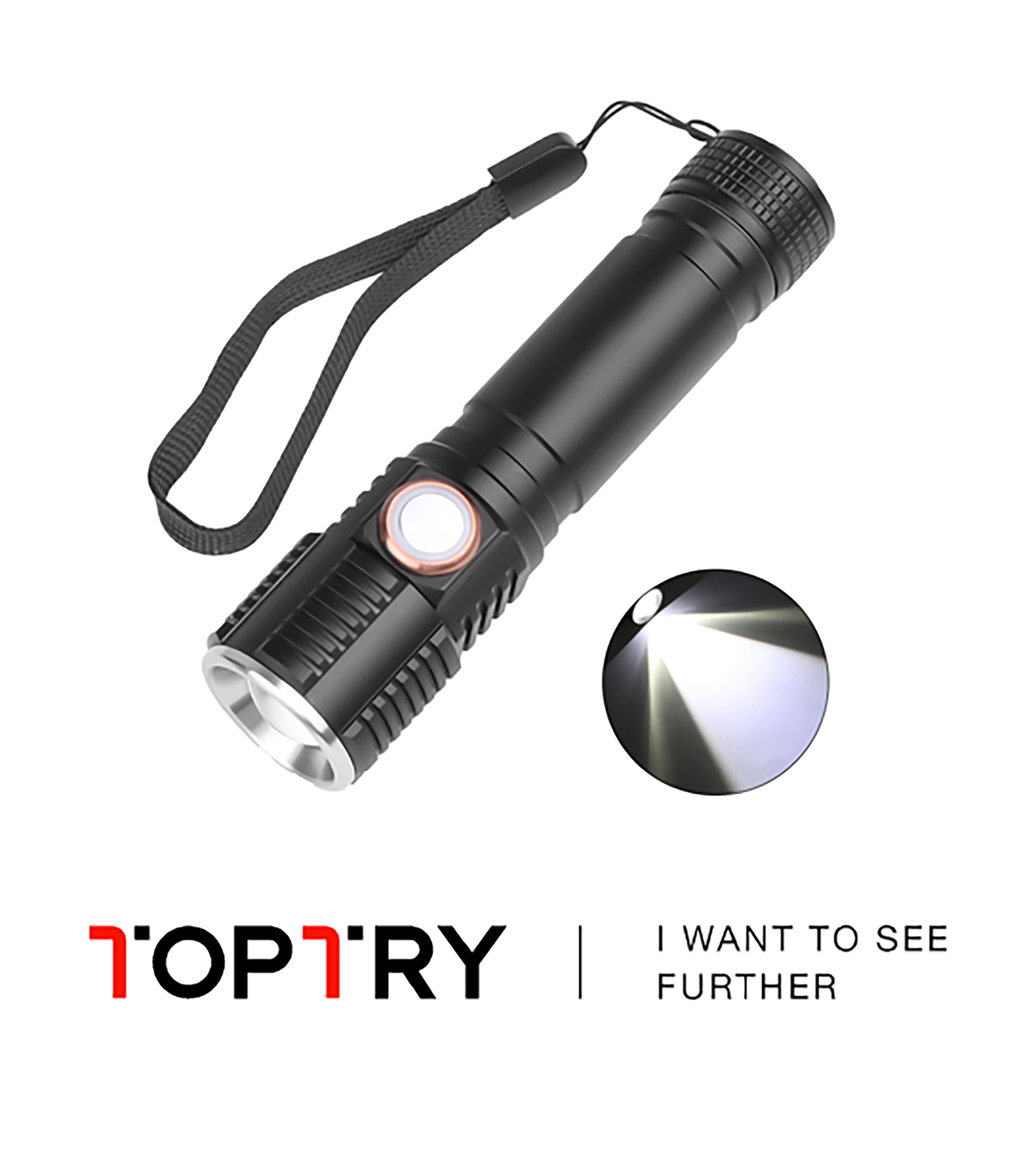 Led Flashlight Ultra Bright Torch T6 Camping Light 3 Switch Modes Waterproof Zoomable Bicycle Light Use 18650 Battery