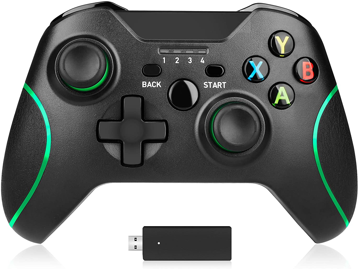 Wireless Controller 2.4GHZ Game Controller with Receiver for Xbox One/X/S/ PS3/ PC Win 10 Remote Gamepad Joystick Dual Vibration