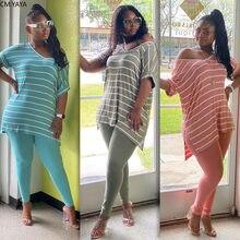 CM.YAYA kobiety Sport paski druku dekolt Tee Top spodnie do biegania garnitur dwuczęściowy zestaw moda dres pasujący zestaw stroje