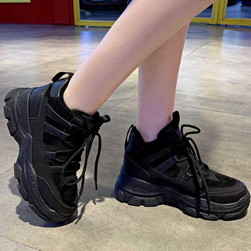 DORATASIA yeni kış sıcak tutmak Sneakers kadın pamuk eklemek Flats bayanlar günlük rahat platform ayakkabılar kadın