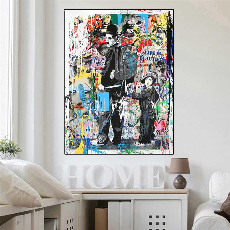 Плакат Эйнштейна Шарли Чаплина банкси обезьяна уличное искусство холст картина Mr Brainwash масло Современные настенные принты Декор для гостиной