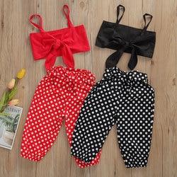 Новый Повседневный детский топ в горошек для маленьких девочек, короткий жилет и шорты, летние комплекты одежды