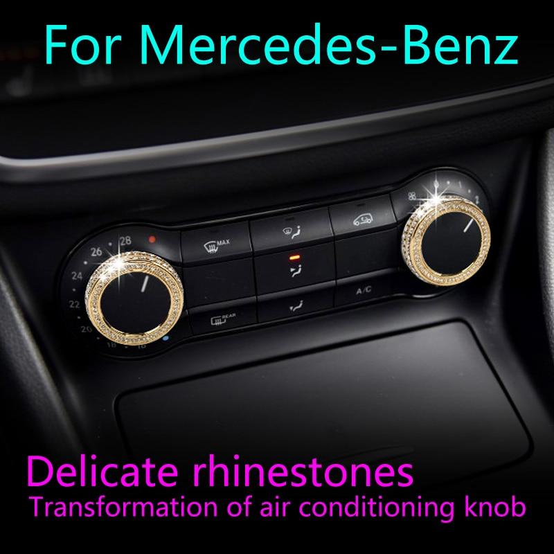 Для Mercedes Benz A/B серии GLA CLA автомобильное интерьера модификации декоративных колец для переключения кондиционера ремонт уникальная отделка с...