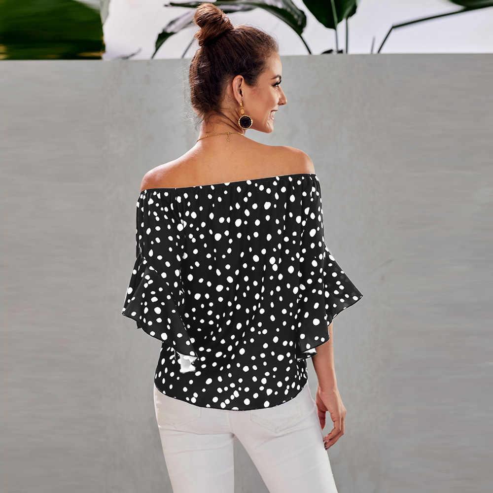 폴카 도트 3/4 벨 슬리브 오프 숄더 프론트 넥타이 매듭 탑 Strapless Dot 까마귀 슬리브 시폰 블라우스 숙녀 탑 셔츠 여성