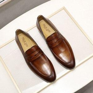 Image 3 - פליקס CHU גברים סירה עור נעלי עור אמיתי אלגנטי מסיבת חתונה מקרית Mens שמלת נעלי חום יד צבוע דירות