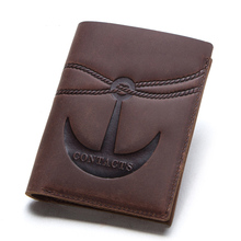 Anchor Design Crazy Horse Skin Men Wallets Genuine Leather Vintage Hasp  Women Money Bag Pocket Card Holder Male Coin Purse