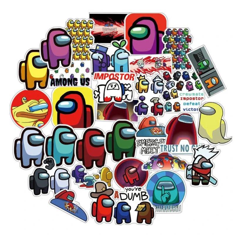 50PCS Game Among Us Stickers DIY Skateboard Fridge Guitar Travel Snowboard Motor