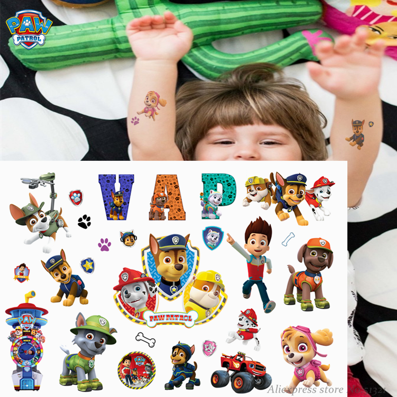 Paw Patrol Cute Cartoon Temporary Tattoo Sticker For Children Boys Toys Tatoo Paper Paste Waterproof Birthday Party Kids Gift
