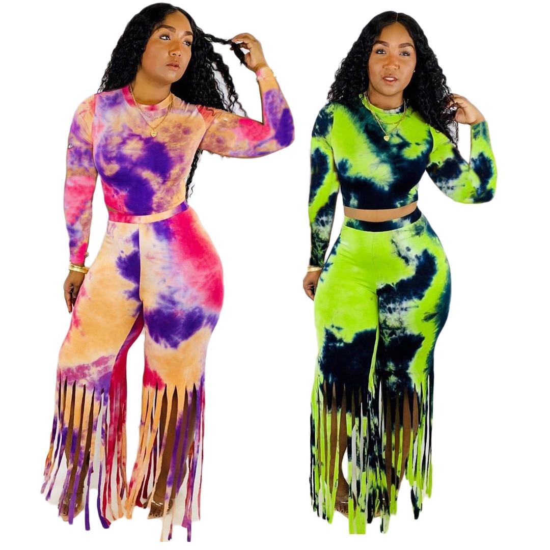Women's Winter Leisure Tie-dye Printed Tassels Two-piece Suit Luxury Tights Shining Elegant Party Club Banquet Night Club Pants