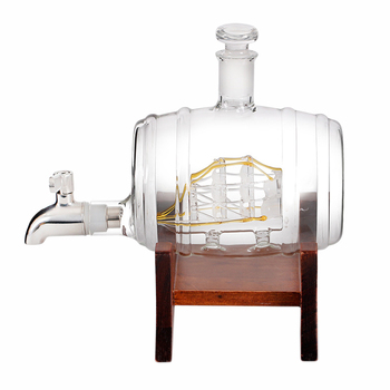 Creative Barrel Whiskey Decanter Set 1000Ml Liquor Decanter Gift Set Craft Wine Bottle Holder Wine Set for Bar Home Party Decora