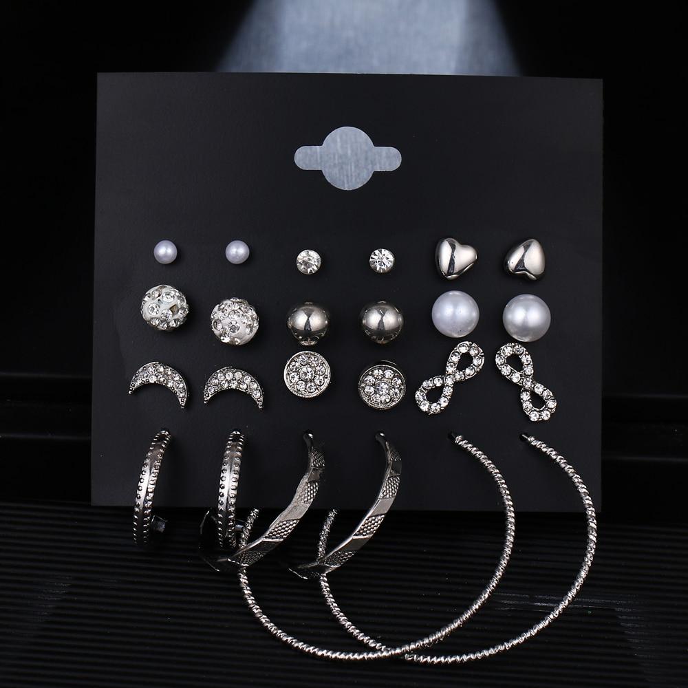 EN grand cercle rond cerceau boucles doreilles ensemble pour la mode des femmes déclaration Punk charme or cristal perle boucles doreilles bijoux de fête Brincos
