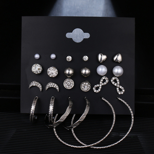 EN Big Circle Round Hoop Earrings Set for Women's Fashion Statement Punk Charm Gold Crystal Pearl Earrings Party Jewelry Brincos
