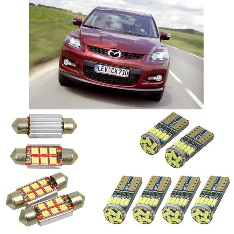 Interior <font><b>led</b></font> Car lights For <font><b>Mazda</b></font> cx-7 <font><b>cx7</b></font> er bulbs for cars License Plate Light 6pc image