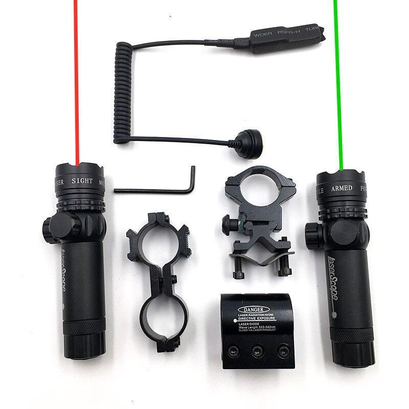 Hoge Kwaliteit Rood/Groen Laser Gebruik Voor Pistool Pak 25.4/30 Mm Ring 20 Mm Rail Laser Sight voor Jacht Kan Verstelbare Up Down Links Rechts