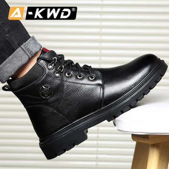 Fashion Black Men Shoes Winter Outdoor Causal Ankle Boots High Top Sneakers Man Botas Nieve Hombre Warm Business Casual Boots 44