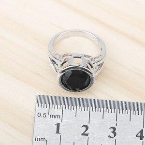 Image 5 - 黒ジルコン 925 シルバーブライダルジュエリーセットイヤリング石/リング/ペンダント/ネックレス/ブレスレットセットのための女性無料ギフトボックス