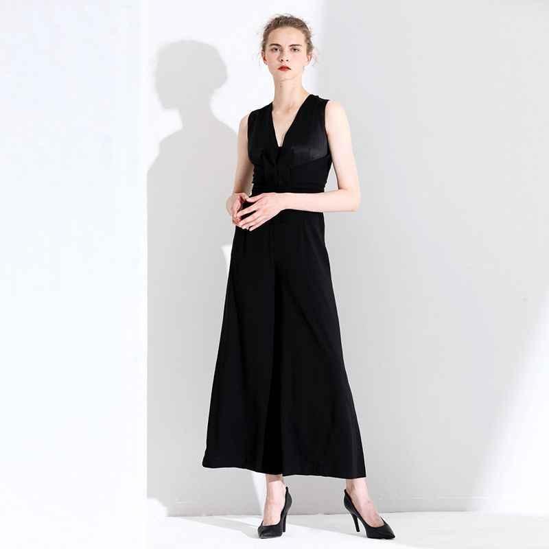 Оригинальный дизайн женский модный темпераментный комбинезон новый v-образный вырез с коротким рукавом Высокая талия тонкий широкий комбинезон женский 3T19638