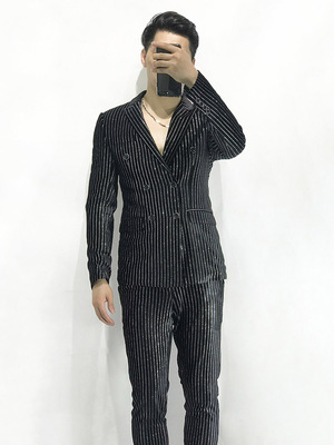 100%real Mens Stars Silver Glitter Stripe Velvet Black Tuxedo Suit /event/evening/stage Performance/jacket With Pants
