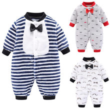New Style Winter Romper For Newborn 2019 Hot Sale Infant Striped Jumpsuit Warm Baby Boy Girls Long Sleeve Cartoon Fleece Rompers(China)